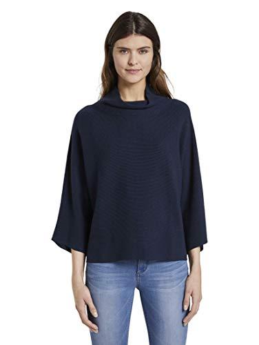 TOM TAILOR Damen Stehkragen Pullover, Blau (10668), XL
