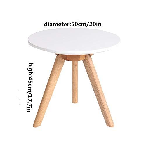 NA Massivholz-Couchtisch, Kleiner Eck-Couchtisch, Runder Kleiner Couchtisch Aus Massivholz, Kreativer Kleiner Schreibtisch/Couchtisch,Weiß,50Cm / 20In