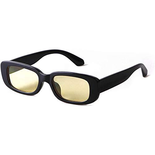 Gafas de sol rectangulares para mujer de los años 90 Vintage Moda Gafas Negro Tortoise Frame (YE)