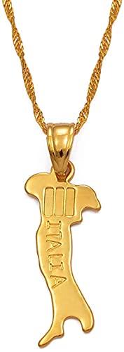 Mapa de Italia collar colgante cadenas 45 cm 60 cm para mujeres / hombres joyería de color dorado mapa italiano Italia