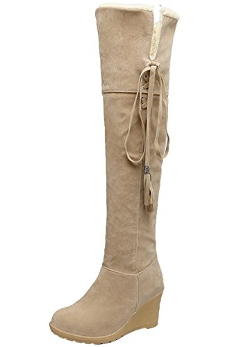 Damen Knie Hohe Stiefel Herbst Winter Casual Schnüren Keilabsatz Bequem Warme Lange Stiefel Von Bigtree Beige 37 EU