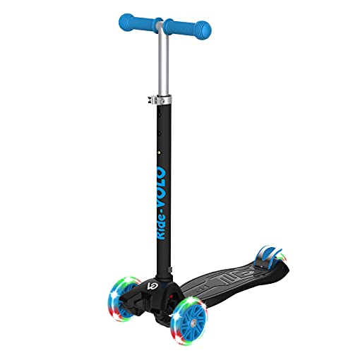 RideVOLO K01 Kick Scooter ,PU Flashing Wheels,3 Adjustable Heights,ABEC-7 Wheel Bearings,5.1inch Extra-Wide Deck,Max Load 110lbs(Black)