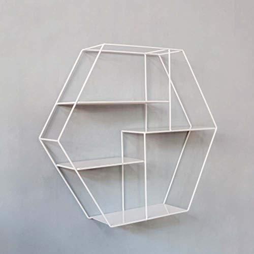 éTagèRe Flottante Murale, Support Polyvalent Polygonal, Support De Rangement DéCoratif Multicouche en MéTal, 52 * 10 * 45cm