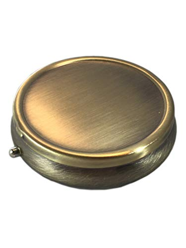 Classic Brass Daily Pocket Travel Sized Pill Box Case with Divider (Round-3 Section)