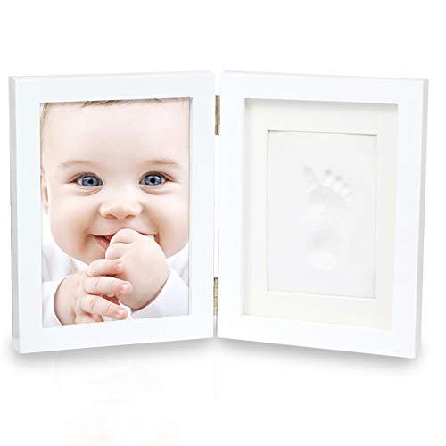 Kit cadre photo empreinte de main et empreinte béb 7 pouces bi-fold du nouveau-né mains et des pieds Imprimer boue bébé et Main Pied Imprimer boue Cadre photo Set avec couvercle immortaliser vos souve
