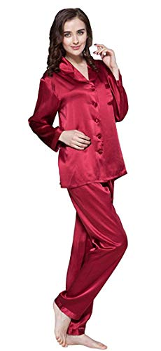 LilySilk Silk Pajamas for Women Comfy Two Piece Set Long Sleeve 16 Momme Real Mulberry Silk Sleepwear Ladies Red L/12