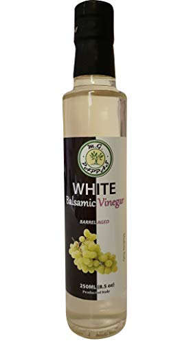 M.G. PAPPAS White Balsamic Vinegar of Modena Barrel Aged Sweet Gourmet 10 Year Old Aceto Balsamico Italian Pure Authentic No Preservatives No Colorants No Caramel No Added Flavors 8.5 Fl Oz 250ml
