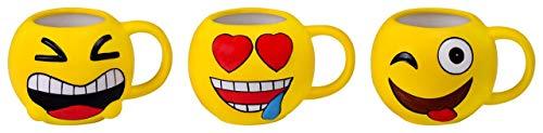 DISOK Lote 24 Tazas Emoticonos - Regalos de Comuniones Niños/Niñas - Tazas Emojis, Emoticonos para Niños, Infantiles, Juveniles. Mugs Desayuno para Regalos y Detalles de Bodas, Bautizos, Comun