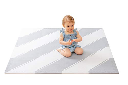 "Baby Play Mat Thick Baby Floor Mats for Crawling EasytoClean Play Mat for Baby with 16 Tiles for Multiple Patterns Assembly Grey and White 49"" X 49""  BabyLuv"