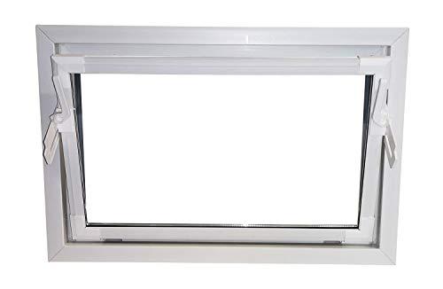 ACO 80cm Nebenraumfenster Kippfenster Isoglasfenster Fenster weiß Kellerfenster, Größe:80 x 60 cm