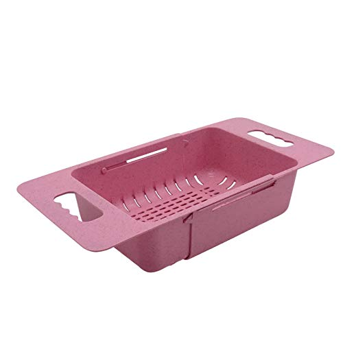 Colander Medium Pink Kitchen Collapsible Food-Grade Space-save Strainer With Large Stable Base Over The Sink for Pasta Berry Noodle Vegetable Fruit