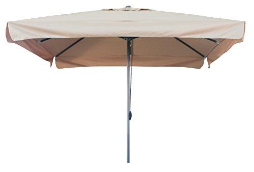 Pure Home & Garden Sonnenschirm Gastro Star 300x300 Taupe, mit extra stabilen Streben (26x16 mm) und Mittelmast (48 mm), UV-Schutz 50 Plus und Seilzug, Voll-Aluminium
