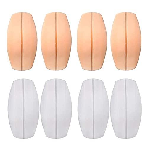 LEEQ - almohadillas de silicona para sujetador, soporte antideslizante para alivio del dolor, almohadillas de hombro, color blanco y rosa, 8 unidades