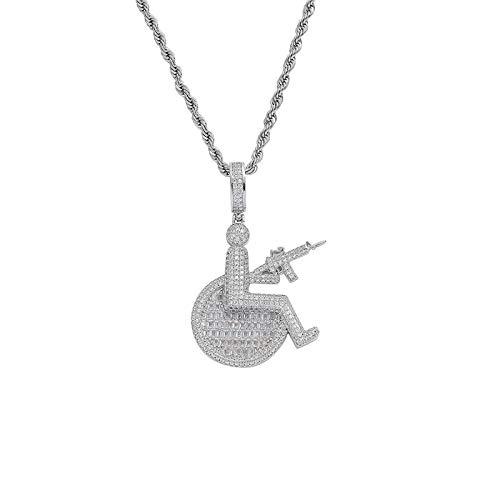 Rollstuhl Logo Pistole Anhänger Halskette Bling Kristall Hip Hop Rapper Schmuck für Männer Frauen Dropshipping-Silber
