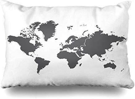 GFGKKGJFF0807 Funda de cojín con diseño de Mapa del Mundo de Mundi de Australia, Color Azul, 40 x 60 cm, para decoración del hogar, sofá, Funda de Almohada, cumpleaños