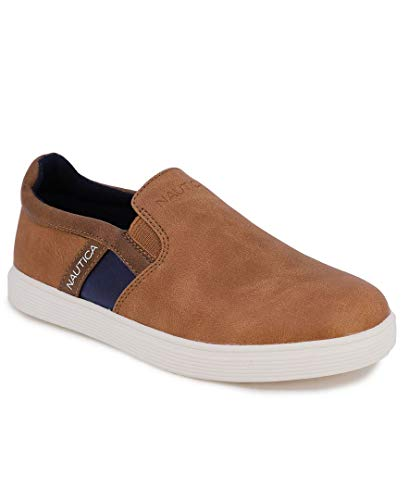 Nautica Kid's Akeley Youth Slip-On Casual Shoe Canvas Sneaker-Pilco-Tan Tonal-4