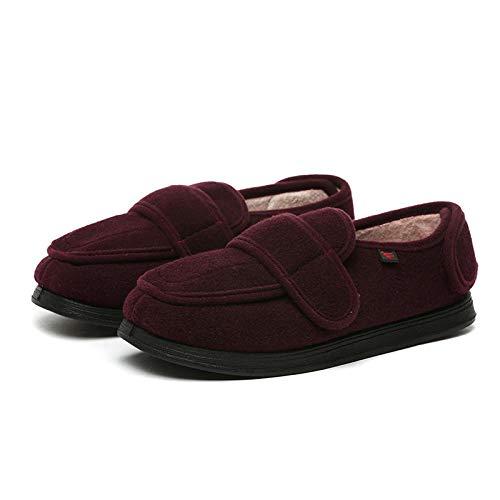 Plantaire fasciitis-sneakers Air Shoe, middelbare leeftijd en ouderen lopen zachte schoenen, verbreding verstelbare chirurgische schoenen-wijnrood plus velvet_LD 女 款 42#, Mens Orthopedische Wide F