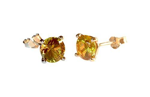 Tingle Alexandrite Earrings Sterling Silver Stud Earrings Unique Color Change Gem Tassel Earrings Fine Jewelry Ear Crawler Earrings (round-shape 7mm, rhodium-plated-silver)