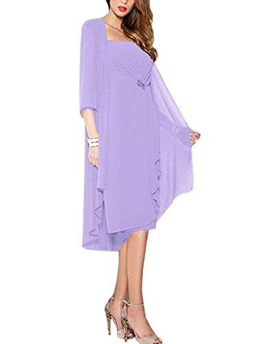 HUINI Damen Brautmutter Kleider mit Jacke Wadenlang Chiffon Perlen Hochzeitskleid Abendkleid...