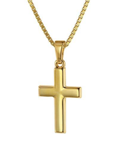 trendor Kreuz für Kinder 18 mm Gold 333/8 Karat mit vergoldeter Kette für Jungen und Mädchen, Halskette mit Kreuz-Anhänger, Geschenkidee 75421-38 38 cm