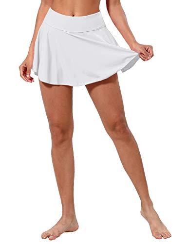 BUBBLELIME XXS-XL Women's UPF 50+ Swim Skirt with Briefs Pockets High Waist Swimming Skort Bikini Tankini Bottom Swimsuit
