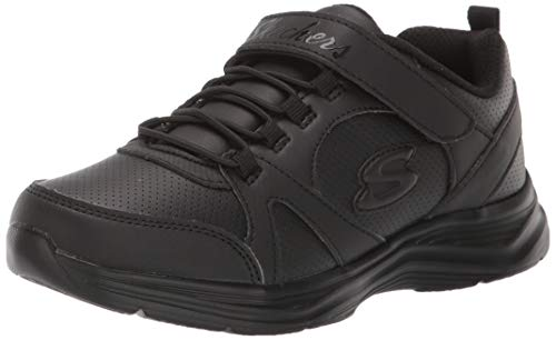 Skechers Kids Girls' Glimmer Kicks Sneaker, Black/Black, 1 Medium US Little Kid