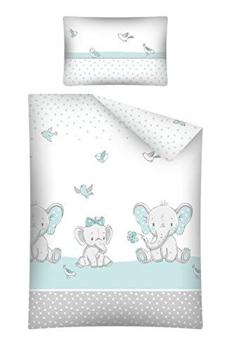 Soft Dream Kinderbettwäsche Babybettwäsche 100x135 40x60 Verschiedenen Motiven mit Tiere für Mädchen und Jungen (100 x 135 cm, Elefant mit Bogen 1 (Blau))