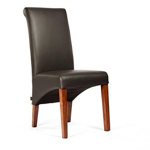 Lederstuhl Felice Leder Braun Stuhlbeine Nussbaum Lederstühle Stühle Stuhl NEU