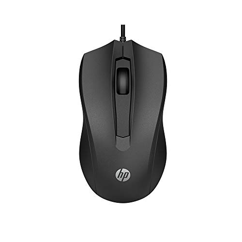Mouse HP USB 100 Preto - Sensor Óptico Ambidestro Resoluções até 1600 DPI Compatível com PC/Mac - 6VY96AA