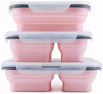 Pack of 3 Collapsible Lunch Box Silicone Food Storage with 1 2 3 Compartments and Utensil 3 product image