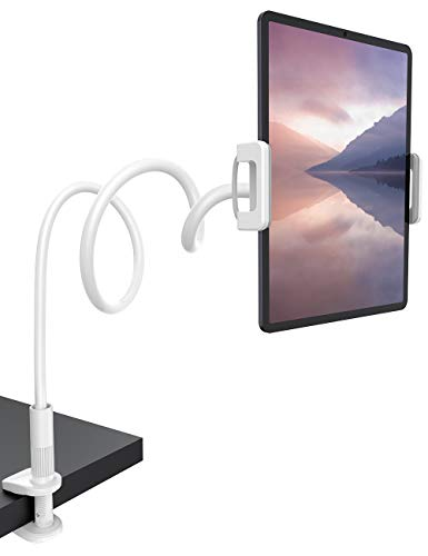 Lamicall Gooseneck Tablet Holder, Flexible Tablet Stand - 360 Adjustable Lazy Arm Holder Clamp Bracket Bed for 2020 New iPad Pro 9.7, 10.5, iPad Air mini 2, 3, 4, Tab, Switch, 4.7-11' Devices - White