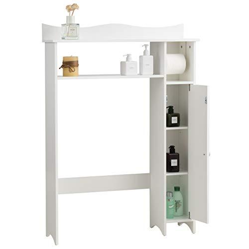 *COSTWAY Toilettenregal weiß, Badezimmerregal mit verstellbaren Regalen, Badezimmerorganisator mit Seitenschrank und Papierhalter, Toilettenschrank freistehend, Überbauschrank Waschmaschinenregal Holz*