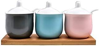 Pots à épices,Boîte de Rangement pour épices, Pot d'assaisonnement Cruet en céramique Macaron Pot d'assaisonnement en Troi...