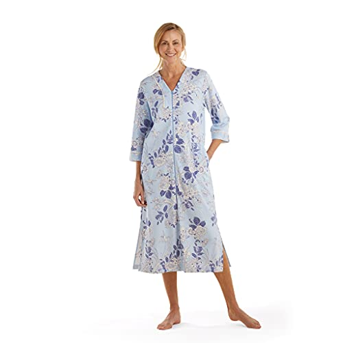 Miss Elaine Robe - Women's Long Interlock Knit Robe, 3/4 Sleeves and Zip Front, Side Pockets and Breakaway Zipper (Large, White/Navy Floral on Blue)