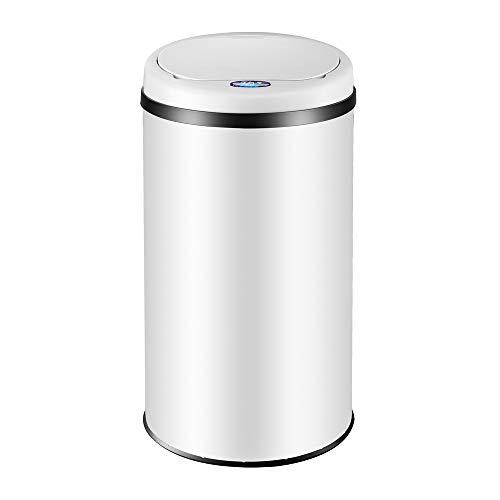 Deuba Sensor Mülleimer 40L mit LED Funktionsanzeige Abfalleimer Automatik Müllbehälter Abfallbehälter Edelstahl Papierkorb mit Bewegungssensor weiß