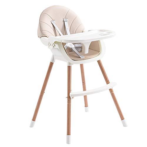 Trona para bebé, trona de madera, bandeja extraíble y patas ajustables, trona para bebé 3 en 1, elegante, de madera noble, cuero sintético de primera calidad, uso para bebés, niños pequeños
