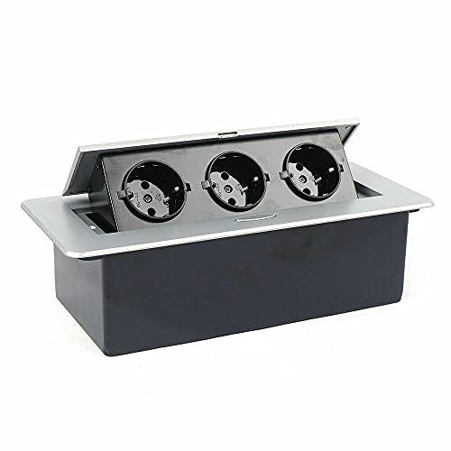 Regleta de 3 enchufes para mesa de cocina, de aleación de aluminio, para oficina, taller