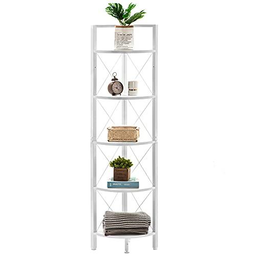 Fiona's magic 5 Tier Corner Shelf Stand, Large Tall Corner Bookshelf, Metal Corner Bookcase for Living Room Bedroom, White & Black