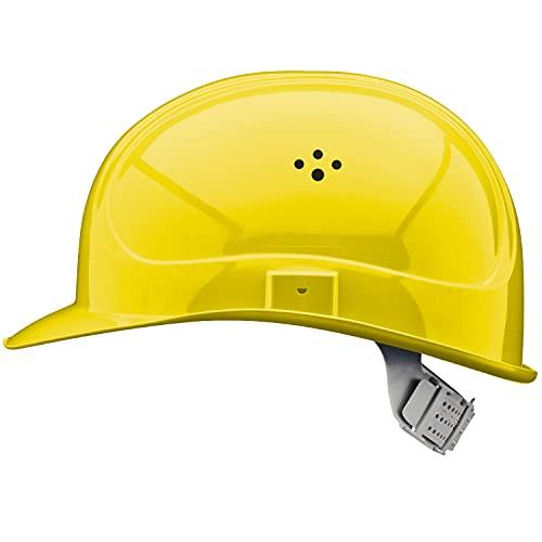 EU Schutz - Casco - En 397 Ajustable Trabajo Casco - Casco de construcción con 6 Puntos de Correa, Amarillo