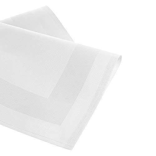 Tissu damassé Serviettes/Bouche Serviettes damassées avec bande satinée Blanc 50x 50cm, lot de 6.