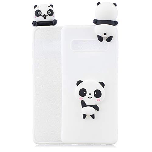 Handyhülle Für Samsung Galaxy S10 Plus 3D Panda Tiere-Silikon Hülle Schutzhülle - Süße Karikatur Tier Muster Ultra Dünn Slim Weiche Flexible Gummi Bumper Case für Kinder Jungs Mädchen,Weiße Teddybär