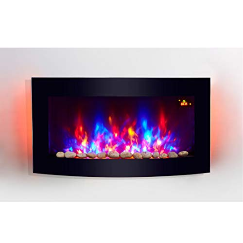 TruFlame 2021 7 colour Side LEDs Wall Mounted Arched Glass Electric Fire with Pebble Effect (88cm wide)