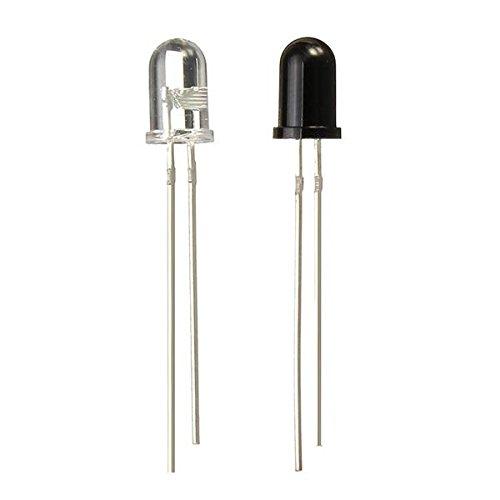 5mm 940nm IR infrarrojo Diodo Emisor de Lanzamiento Receptor reciba LED 100pcs