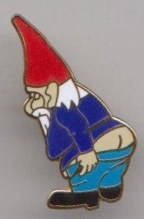 Naughty Garden Gnome Pin Badge
