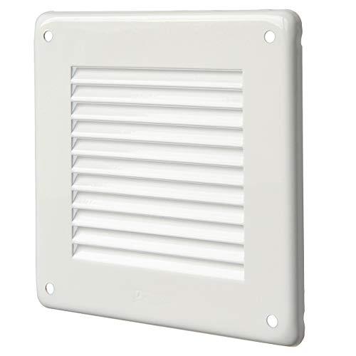 La Ventilazione GL10B - Rejilla de ventilación cuadrada de solapa, de chapa pintada en blanco, 140 x 140 mm