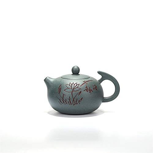 QinMei Zhou theepot ore groene klei met de hand gegraveerde tekening vliegen naar Shih theepot thee gift (Color : Purple mud)