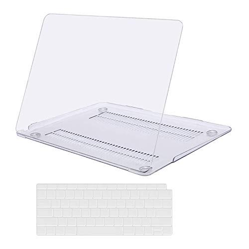 Capa rígida de plástico MosISO e capa de teclado compatível apenas com MacBook Air 13 polegadas com tela de retina e Touch ID, Crystal Clear, 13 Inches