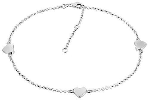 Nenalina 381007-000, cavigliera, con 3ciondoli a forma di cuore, argento sterling 925, lunghezza regolabile 23–27cm