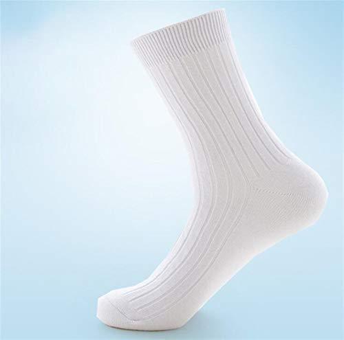 Witou 100% Calcetines de Negocios Raya Alta Crew pegan la Desodorante Calcetines Hombre algodón de los Hombres Medias Medias Otoño Invierno, Comodidad y Ocio (Color : White)