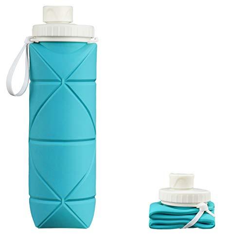 INTEREPRO Botella de agua plegable de silicona reutilizable a prueba de fugas, 600 ml, portátil, para viajes, deportes y exteriores (verde azul)